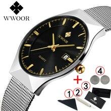 WWOOR 2019 メンズ腕時計トップブランドの高級ファッション超薄型男スポーツ防水ビジネス腕時計男性用腕時計 2018