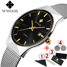WWOOR 2019 mannen Horloges Topmerk Luxe Mode Ultra Dunne Man Horloge Sport Waterdicht Zaken Horloges Mannen Horloges 2018