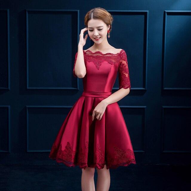 c441859e66 Scoop neck lace dress borgoña raso vestidos de coctel cortos 2017 de la  rodilla longitud party