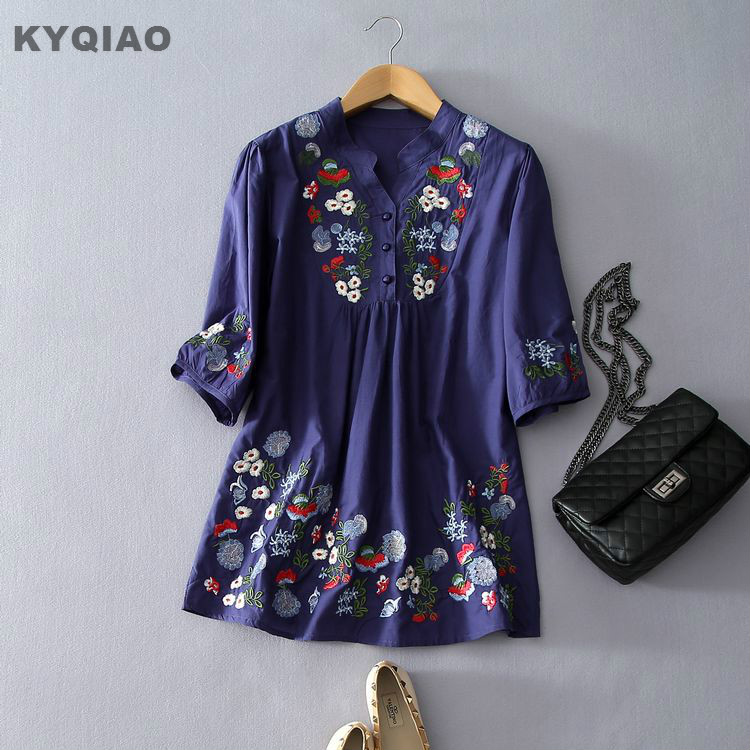 KYQIAO Ethnic blouse 2018 women vintage 70s brand bohemian v neck dark blue green white floral embroidery shirt blusa top