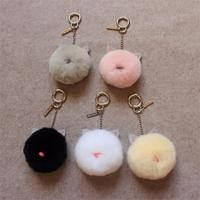 Cute Pet Cute Creative Cat Ears Rex Rabbit Hair Ball Cat Meat Ball Bag Pendant Hanging Keychain