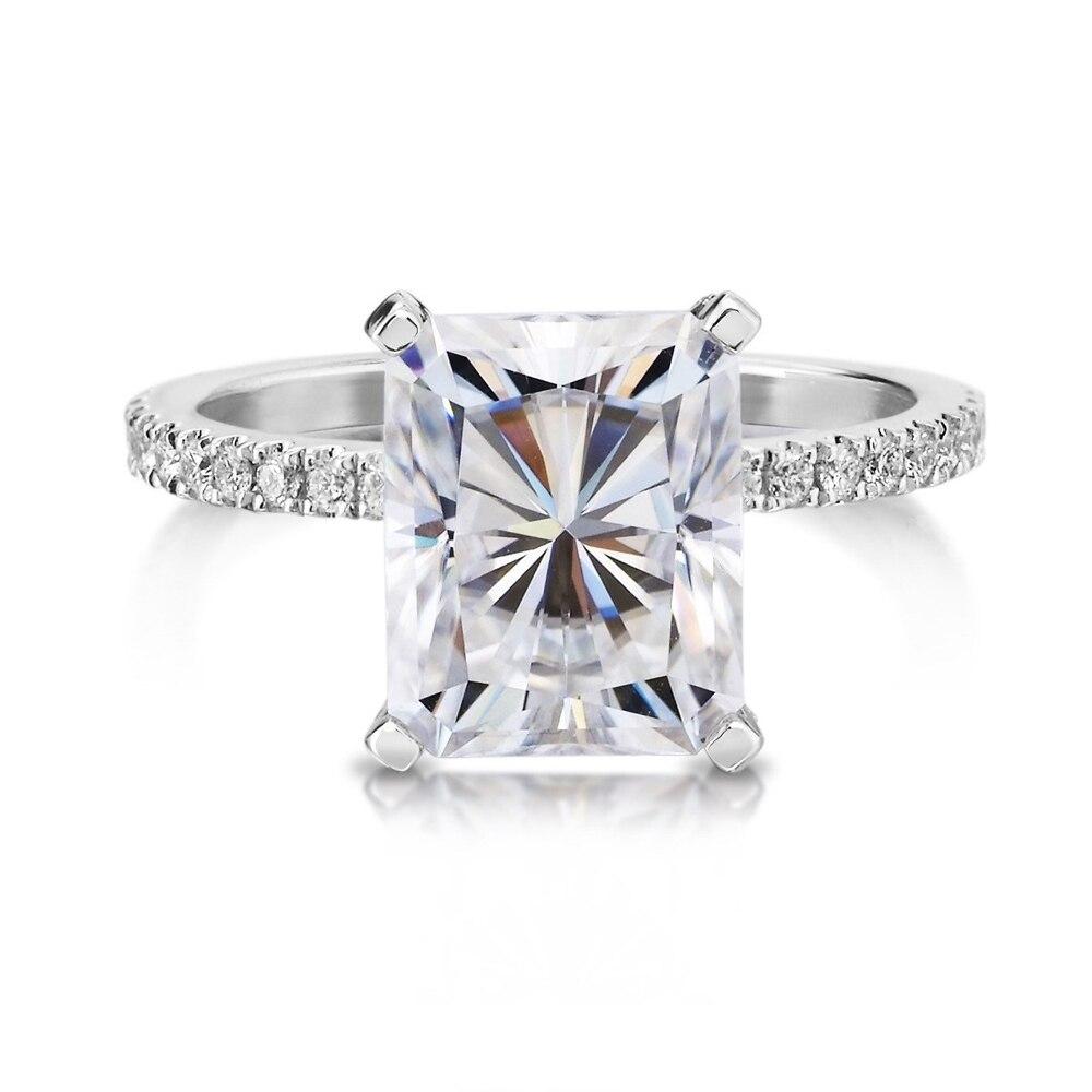 3.90 ct 10*8 мм Radiant отличный крой Муассанит Обручение кольцо Половина Вечность Группа 14 К белого золота для свадебные