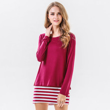 2019 Fashion Designer Spring T-shirt New Fake Two Women Shirt Cotton Stretch Loose Elegant Ladies Striped Casual T-shirts Trend