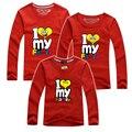 Семья Соответствующие Наряды Новый 2016 Я Люблю Свою Семью Напечатаны Семья Одежда Хлопок Женщины Мужчины Дети Футболка детская одежда