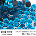 Mix Size Heat Transfer Flatback Blue Zircon DMC Hot Fix Rhinestones for Women bag Decoration DIY Nail Art