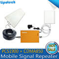 High Quality!Dual Band Mobile Signal Booster 850 MHz 1900 MHz CDMA PCS 2G 3G Smart cell phone signal repeater amplifier Full kit