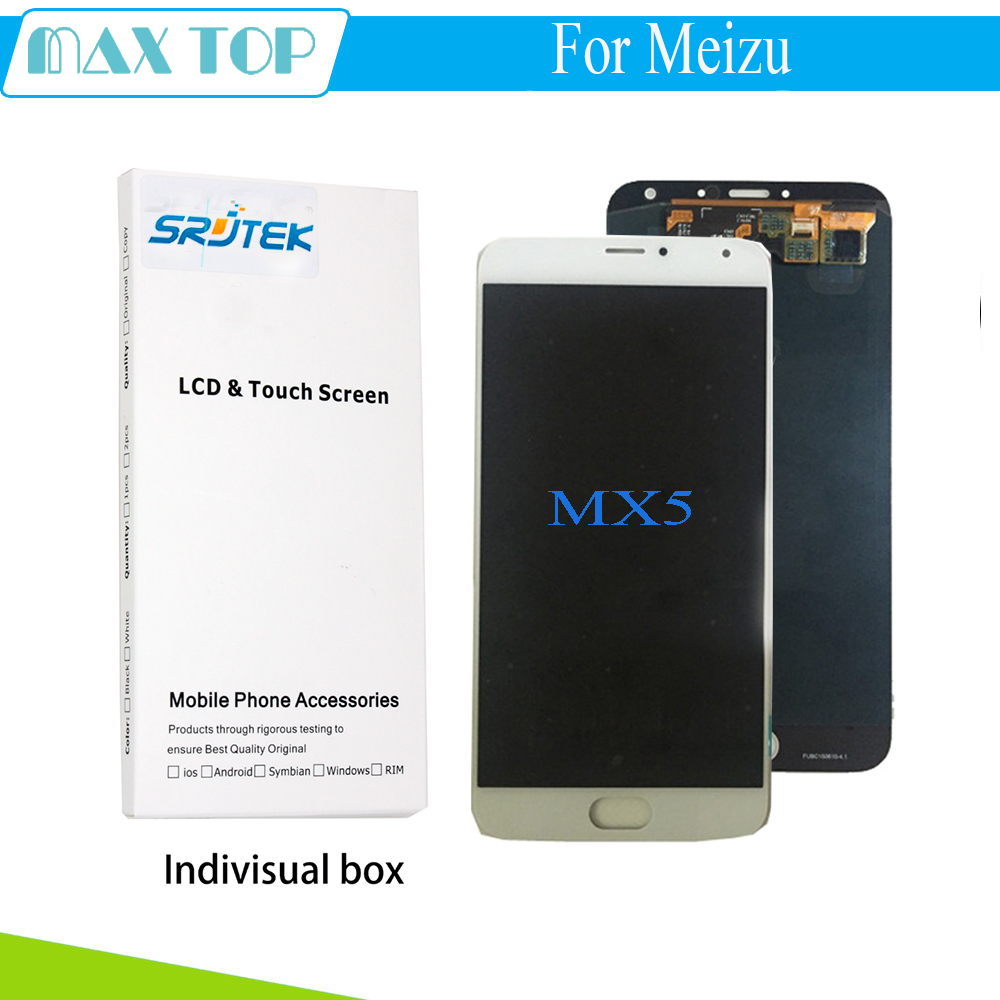 For Meizu MX5 LCD Display+Touch Screen White Original Digitizer Glass Panel For Meizu MX5 MTK6795 1920X1080 FHD 5.5'' Phone