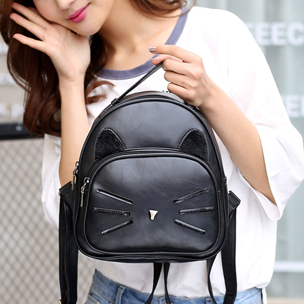 Design Pu Leather Backpack Women For Teenage Girls School Lady's Small Vintage Cat Back Pack Travel Bags #4
