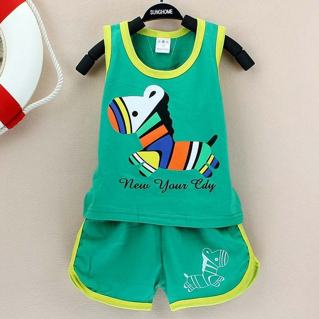 2017 New summer baby clothing set cotton Cute pattern Vest & shorts baby boy clothing sets 0-2 year baby suit set baby clothes  4