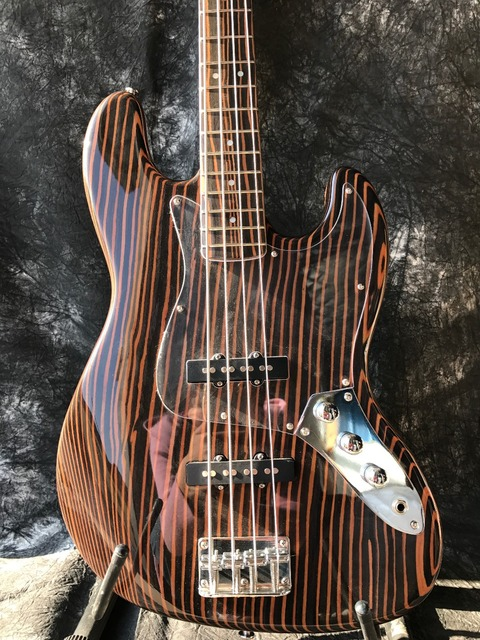 US $299 16 5% OFF|Aliexpress com : Buy Good sound Starshine JAzz Bass  electric guitar zebra wood body and neck from Reliable wood body suppliers  on