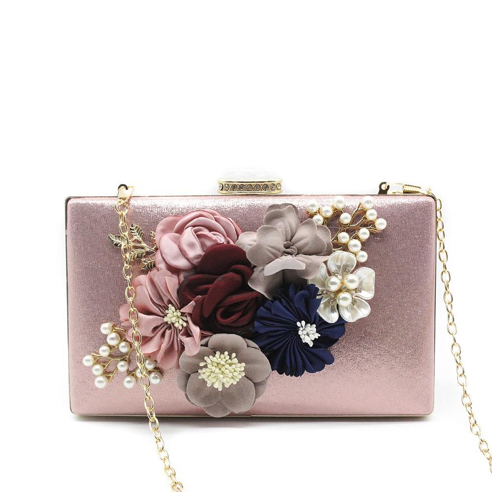Women Evening Bag Ladies Flower Wedding Clutches Female Pink Black Clutch Purse