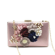 Women Evening Bag Ladies Flower Wedding Clutches Female Pink