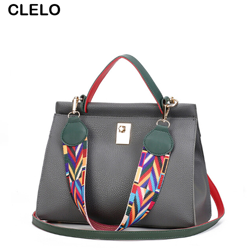 CLELO 2017 New Fashion Pu Leather Women Panelled Handbags Female Large Shopping Totes Ladies Elegant Shoulder Bag Bolsos Mujer