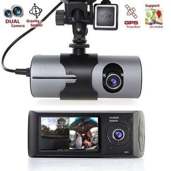 Dual Camera Car DVR R300 with GPS Cam Video Camcorder Cycle Recording Digital Zoom R300 DVR Dash Camera 5
