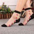 silk socks cotton bottom with Thin Transparent cystal elastic nylon vintage flower short for lady girl women female