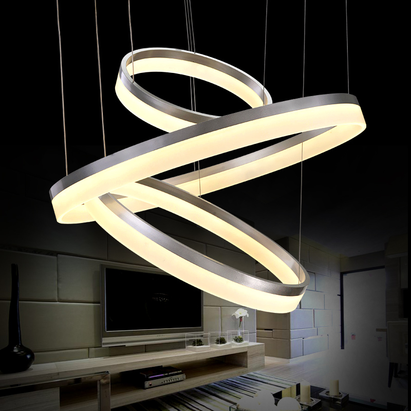 40 60 80CM 3 Rings Modern LED Ceiling Light For Living Room Bedroom Luminaire Acrylic Hanging