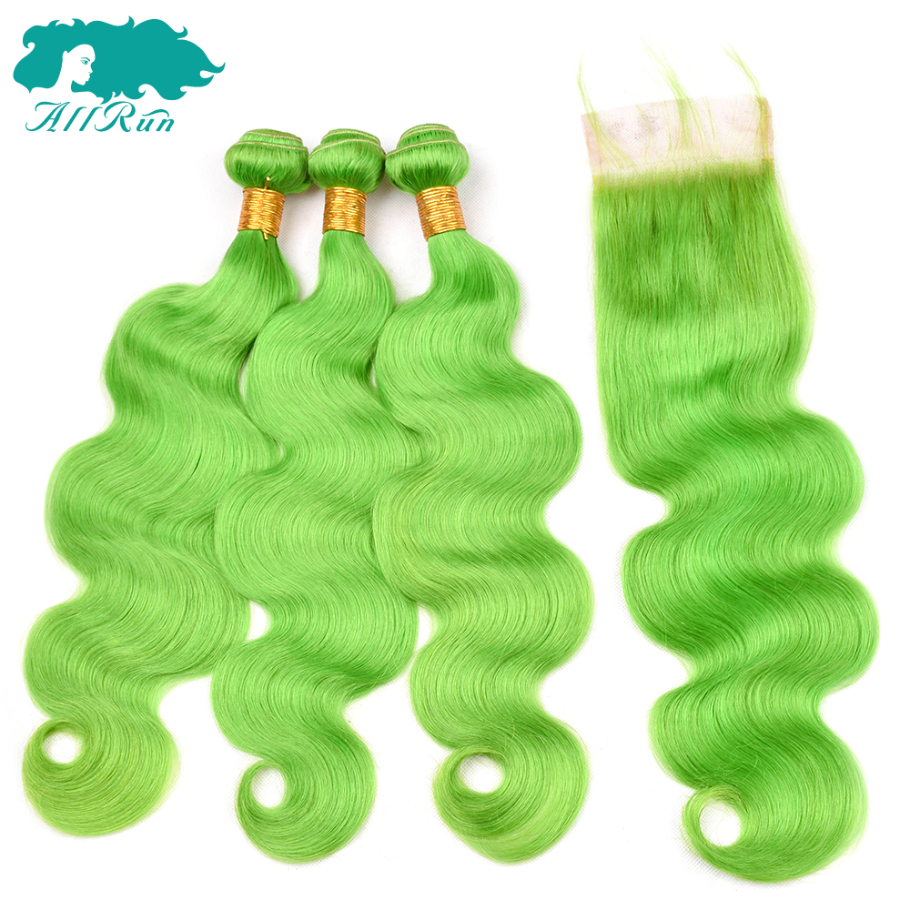 Allrun Peruvian Human hair weave bundles With 4*4 Closure Grass Green color 3 Bundles with closure Non-Remy Hair Extension