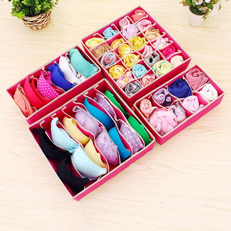 4Pcs/Set Storage Box Non-woven Fabric Cardboard Foldable Case Divider For Necktie Bra Sock Underwear Organizer Container Hogard