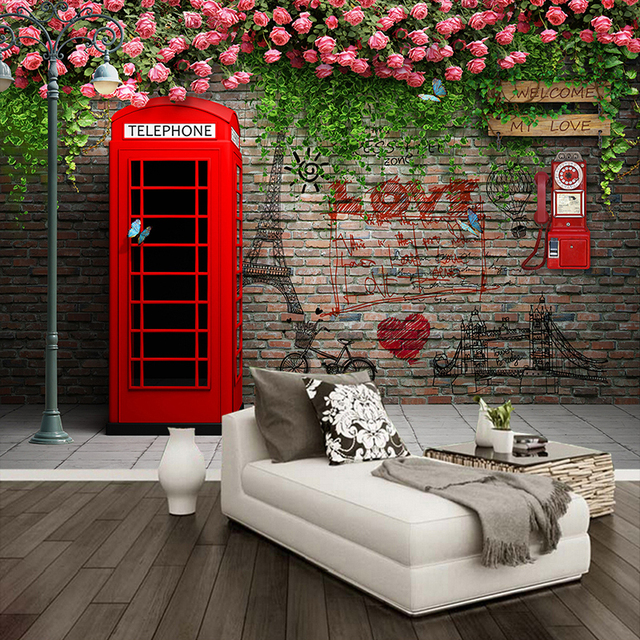 Custom Photo Wallpaper Modern London Telephone Booth Rose 3D Wall Murals  Cafe Restaurant Living Room Backdrop Part 94