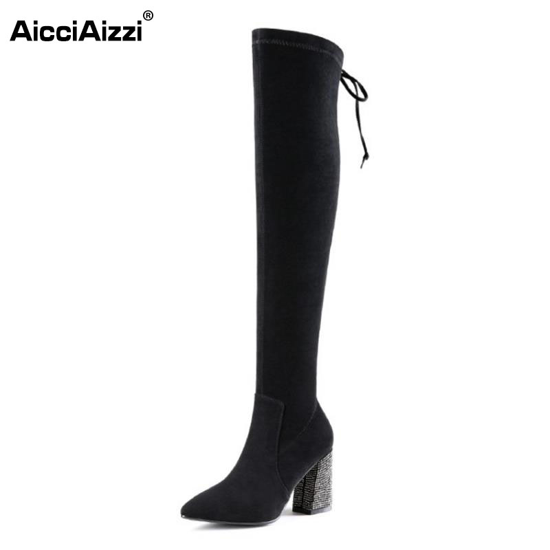 AicciAizzi Women Real Leather Over Knee Boots Cross Strap High Heel Boots Warm Fur Shoes Winter Botas Women Footwears Size 34-39 pritivimin fn81 winter warm women real wool fur lined shoes ladies genuine leather high boot girl fashion over the knee boots