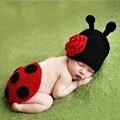 Bebê recém-nascido Bonito Do Bebê Crochet Fotografia Props Chapéus e Bonés Joaninha Beatles Estilo De Lã Macia Confortável Adorável Roupas Traje