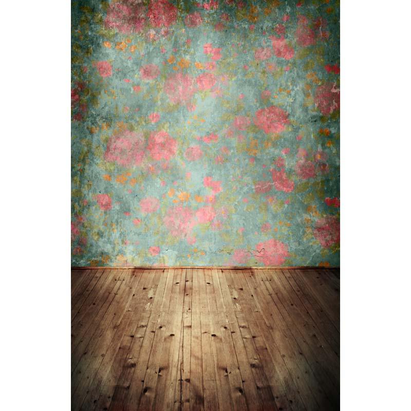 5e85b2681b6d7 Backdrops pano de fundo de vinil Fotografia Multi colorido com flores  sobrepondo as pranchas de madeira.