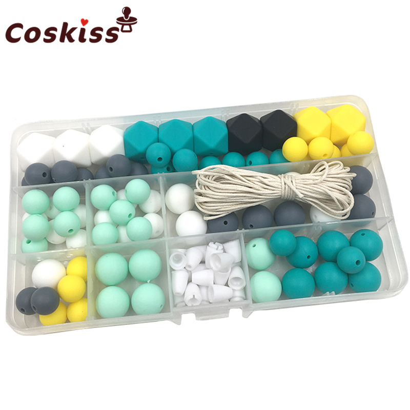 Baby Silicone Teether DIY Crafts Set Pacifier Clips Toy Safe And Natural Silicone Hexagon Beads Teether Necklace Pendants
