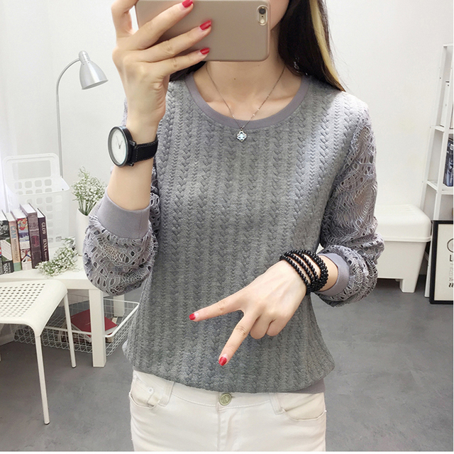 Women Blouses 2018 Autumn Fashion Pink Lace Patchwork Long Sleeve Womens Shirt Elegant Ladies Office Wear Top Blouse Mujer Tops