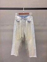 Новые в начале осени женский западный стиль Джокер нерегулярные ручной работы из бисера украшение талии джинсы