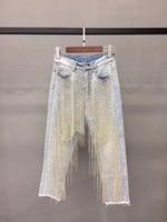 New early autumn female Western style joker irregular handmade beaded adornment waist jeans