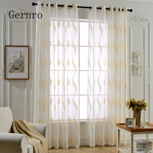 Gernro Curtain 1 PC Golden Wave Curtains For Bedroom Free Shipping Tulle Of  Window Tulle Curtains