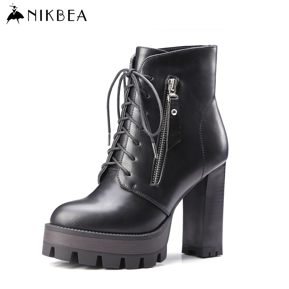 ФОТО Nikbea Handmade Vintage Ankle Boots Lace Up Large Size Sexy High Heels Boots 2016 Winter Boots Platform Women Booties Shoes Pu