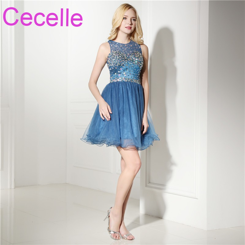 Blue Tulle Short   Cocktail     Dresses   2019 Sleeveless Beaded Crystals Sexy Open Back Teens Informal Short Prom Party   Dress   Real