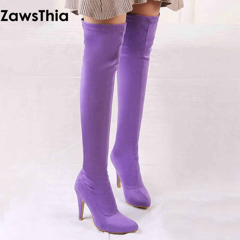 ZawsThia 2019 winter colorful yellow purple pink thin high heel woman shoes over the knee high boots women overknee boots 33-45
