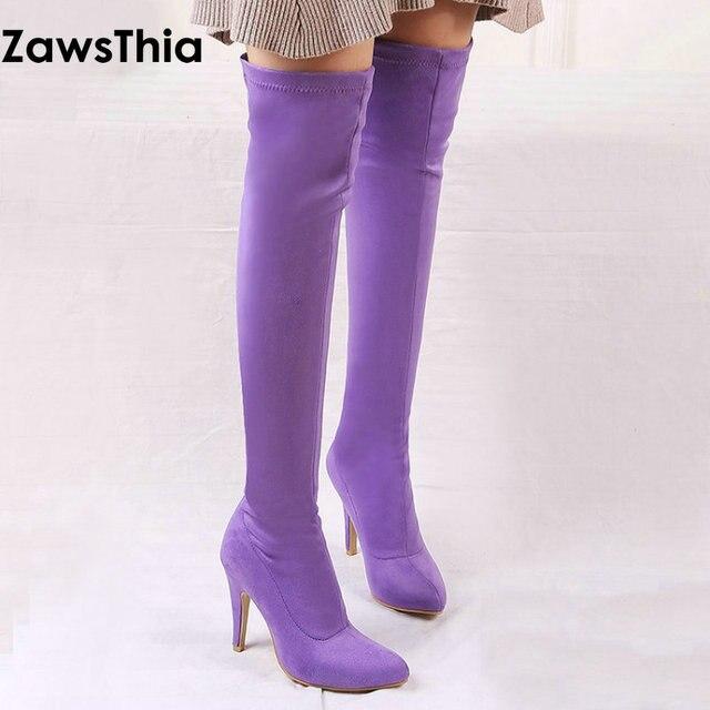 ZawsThia 2018 inverno colorido rosa roxo amarelo sapatos de mulher de salto alto fino sobre o joelho botas altas das mulheres botas overknee 33-45