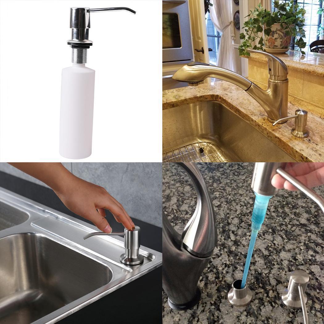 300ml Bathroom Faucet Sink Soap Dispensers Liquid Soap Lotion Dispensers Pump Silver Plastic Bottle sink Replace Bottle Kitchen