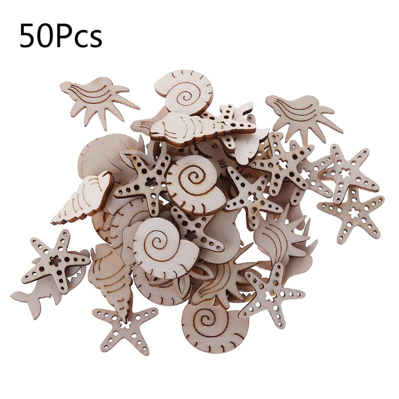 50Pcs/Bag Laser Cut Wood Embellishment Wooden Sea Shell Marine Life Shape Craft Wedding Decor