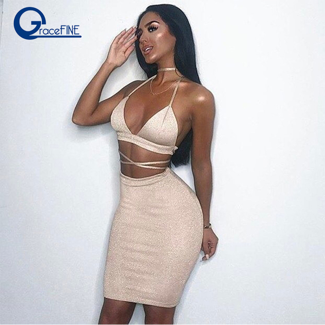 bodycon Women Nightclub Sexy Halter Straps V Neck Cami Package Hip Tight  dress Festival clothing Red cocktail party dress 2018 6684a8b8657a