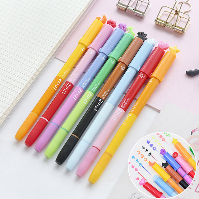 Creative DIY Double Head Gel Pen Cute Neutral Kawaii Stamp Marker Pens For Painting Office