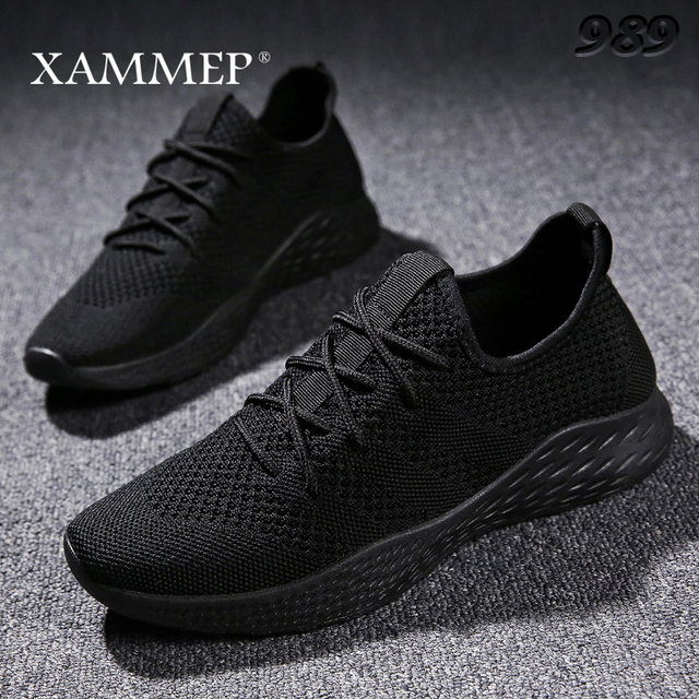 الرجال حذاء كاجوال الرجال أحذية رياضية ماركة حذاء رجالي الذكور شبكة الشقق المتسكعون الانزلاق على حجم كبير تنفس الربيع الخريف الشتاء xammep