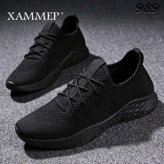 Кроссовки Xammep мужские сетчатые, повседневные брендовые сникерсы на плоской подошве, лоферы без застежки, дышащие, большие размеры, весна/осень/зима