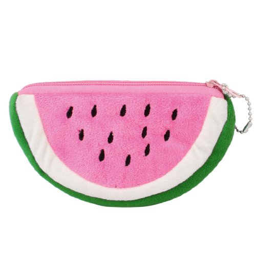 HEBA New Watermelon Shape Pink Green Plush Zip up Cards Cash Holder Wallet Purse