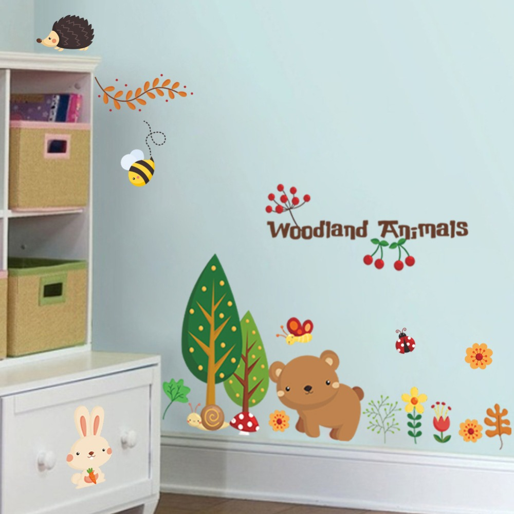 online get cheap woodland wall stickers aliexpress com alibaba woodland animals wall stickers for kids room decorations cartoon mural art zoo children home decals posters