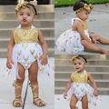 2017 Bebê Recém-nascido Roupas Meninas Lantejoulas Vestido Bodysuits do bebê Macacão Roupas de Verão a Roupa do bebê