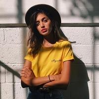 Jo Kalin Summer Cotton Short Sleeve Tshirts For Women Letter Printed Yellow Embroidery T Shirt Harajuku