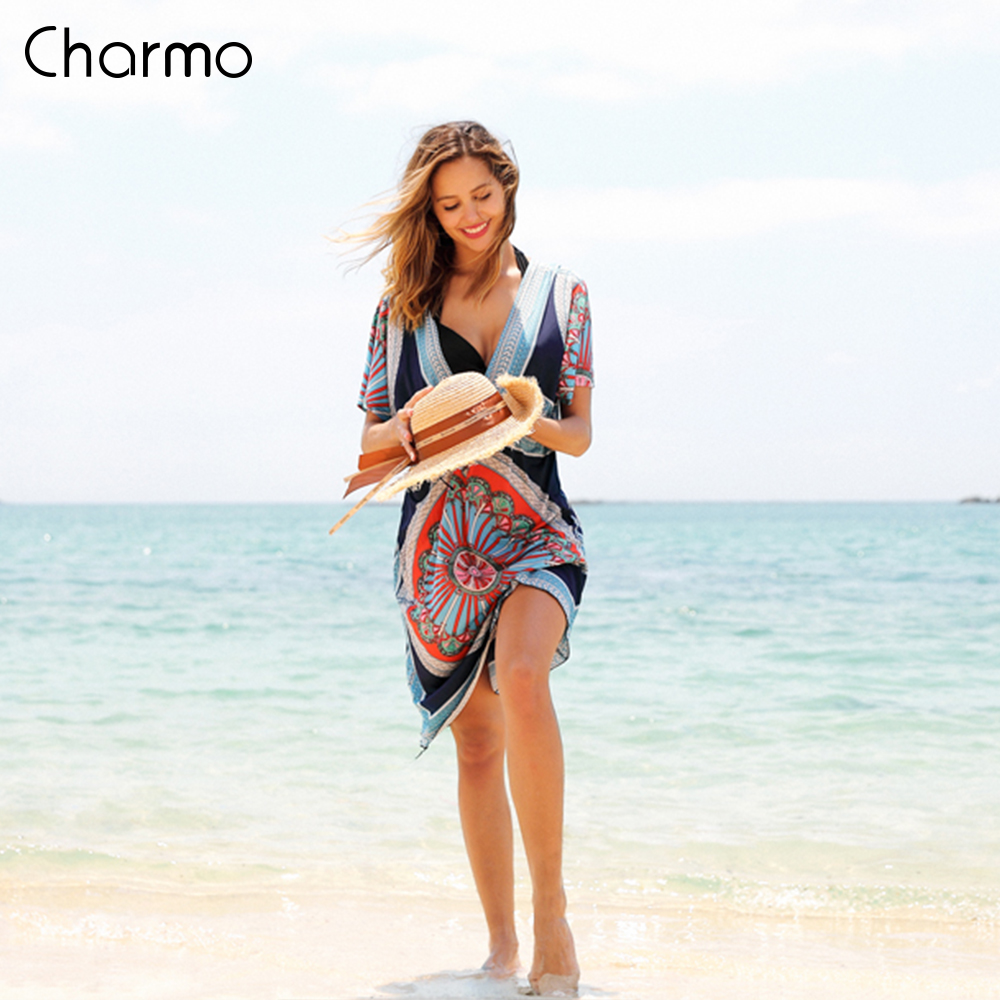 Charmo Women Beach Cover Up Kaftan Bikini Chiffon Tassel Cover-Ups See-through Swimsuit Women Swimwear Sexy Bathing Suit