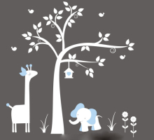 New arrival White Tree Wall Decal with Giraffe, Elephant, Birdhouse - Nursery stickers Art Baby