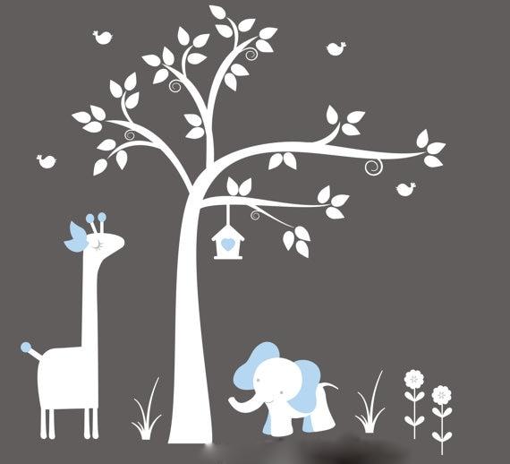 Nouveauté sticker mural arbre blanc avec girafe, éléphant, nichoir-stickers muraux pépinière Art-sticker mural bébé