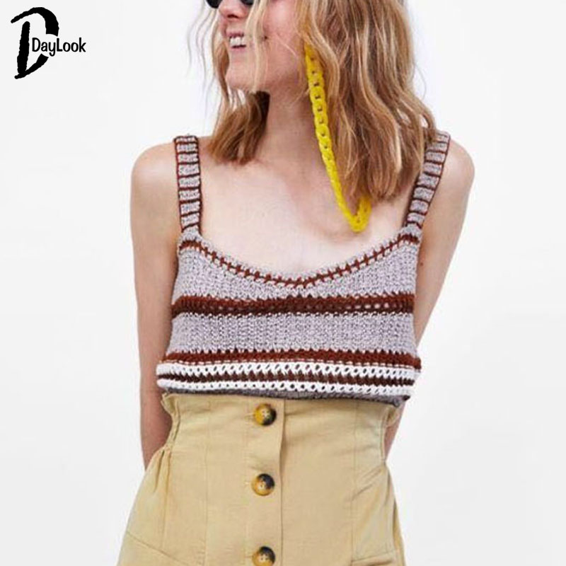 Daylook Crochet knitting camisole tank top Sleeveless striped crop top women boho tops Sexy short knitting cropped cami sweater