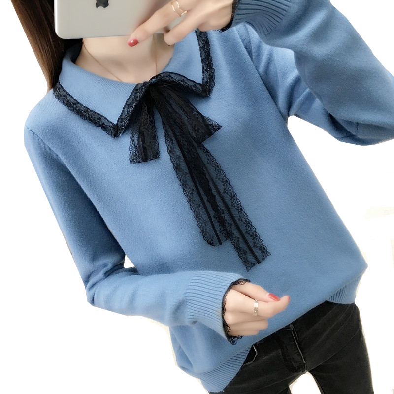 Warm Short Women Pullover Sweaters Autumn Winter Fashion Loose Long-sleeved Soft Knit Lace Collar Casual Women's Sweater Tops